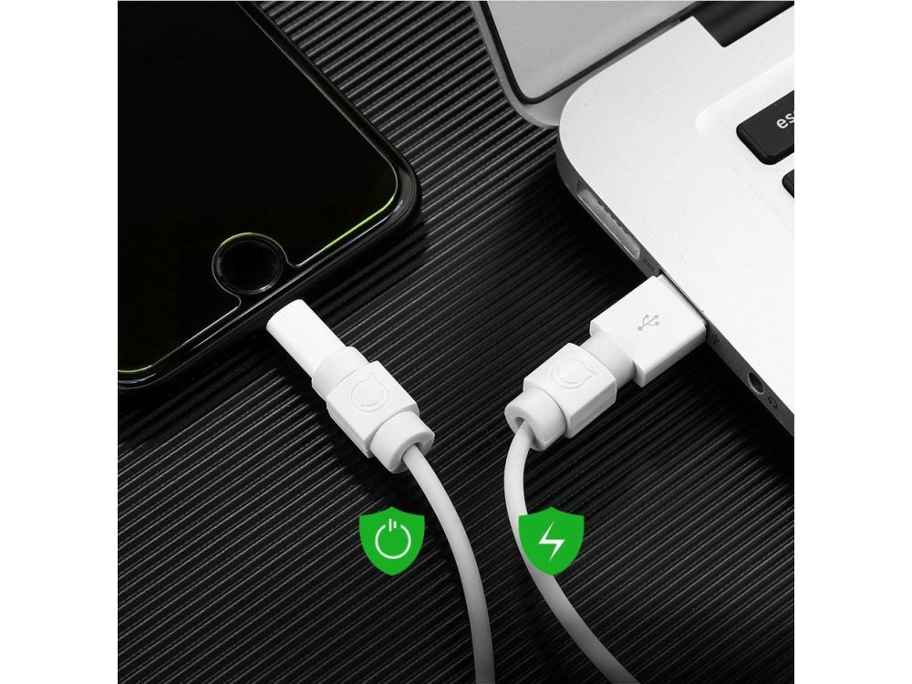 Ugreen Protective cable plug cover for Lightning / Micro USB / Type-C, White, Pack of 6 - 40705