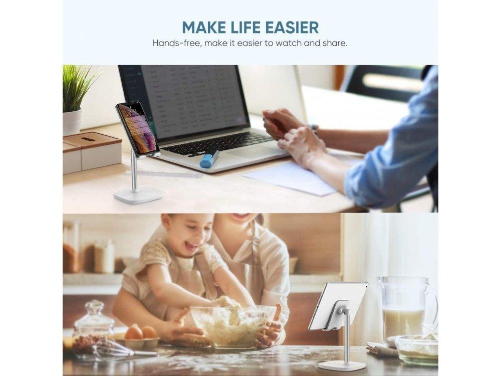 Ugreen Desktop Bracket Holder, Βάση / Stand τοποθέτησης Κινητού/Tablet, Λευκό / Ασημί - 60343