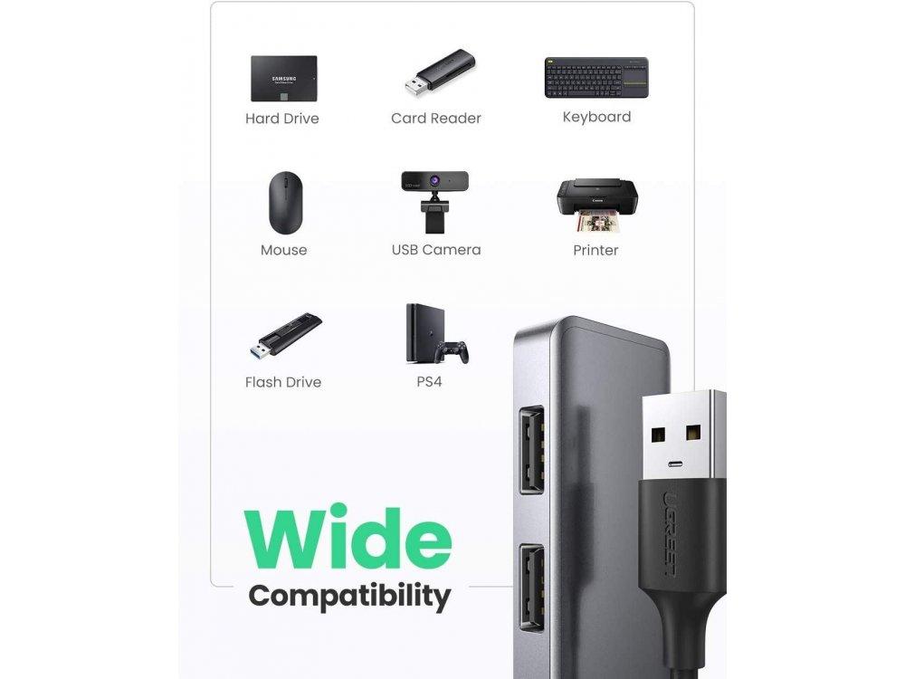 Ugreen Ultra Slim 4-Port USB 3.0 Data Hub με Θύρα Micro USB για τροφοδοσία - 50985