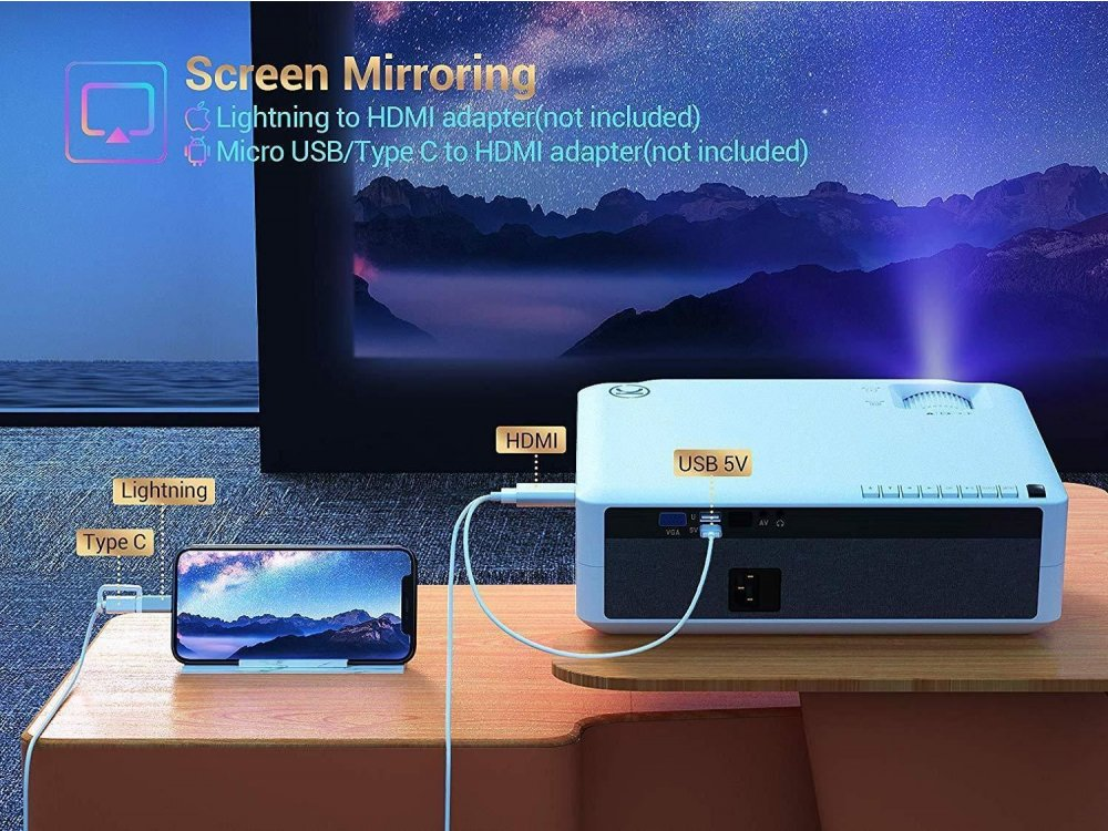 VANKYO V630 Performance Projector Full HD 1080p Native resolution, 6800 Lumens, 6000:1 Contrast (up to 1080p)
