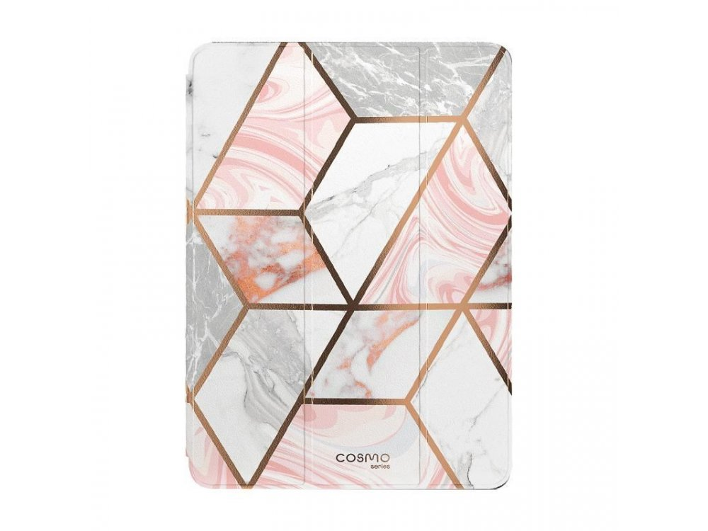 """i-Blason Cosmo Lite iPad 7th Gen 2019 10.2"""" Trifold case with Auto Sleep/Wake, Stand, Hard Back Cover, Marble Pink"""