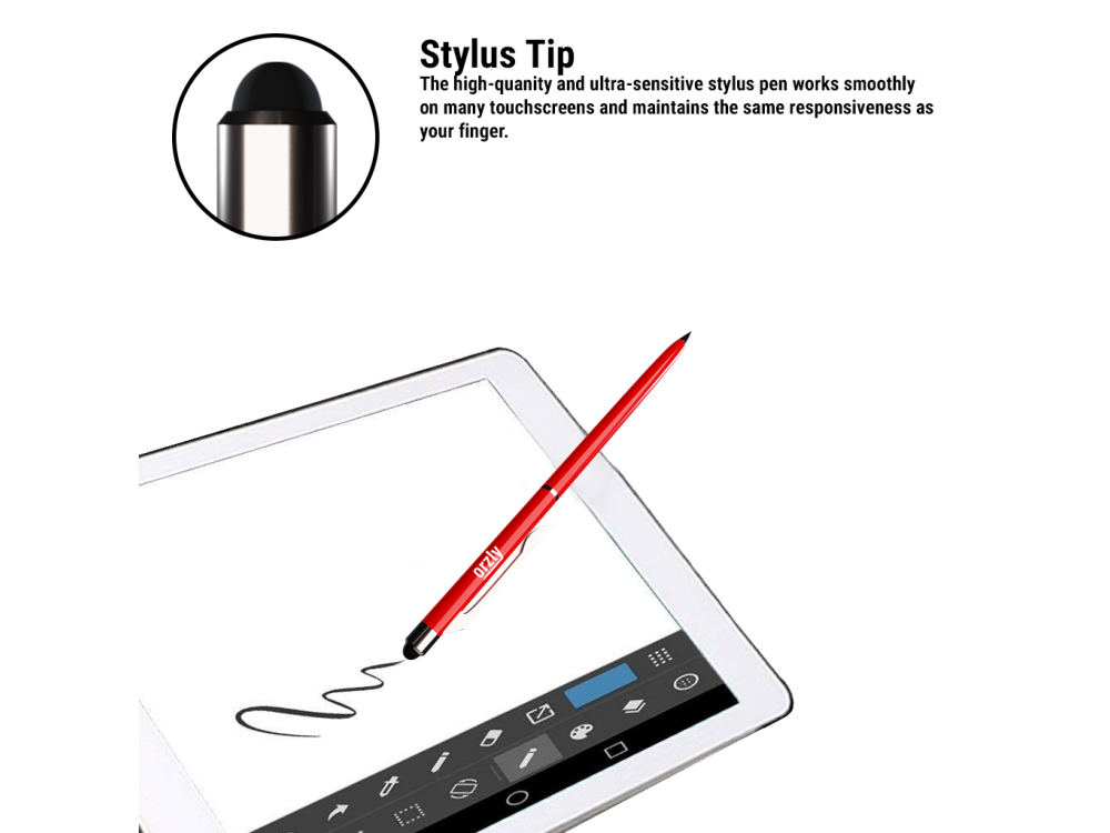 Orzly Stylus Pen Γραφίδα για Tablet / Smartphone & Στυλό 2-in1, Red