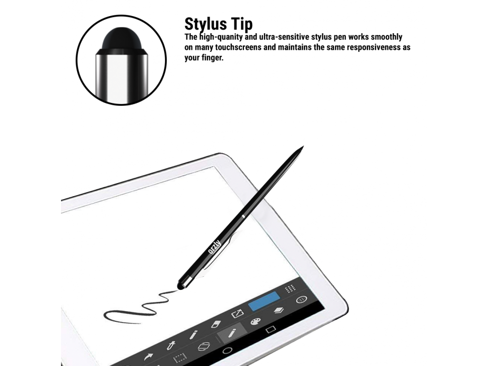 Orzly Stylus Pen for Tablet / Smartphone & Pen 2-in-1, Black