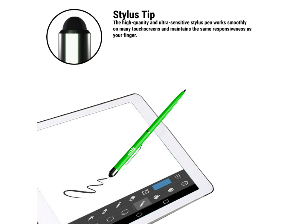Orzly Stylus Pen Γραφίδα για Tablet / Smartphone & Στυλό 2-in1, Green
