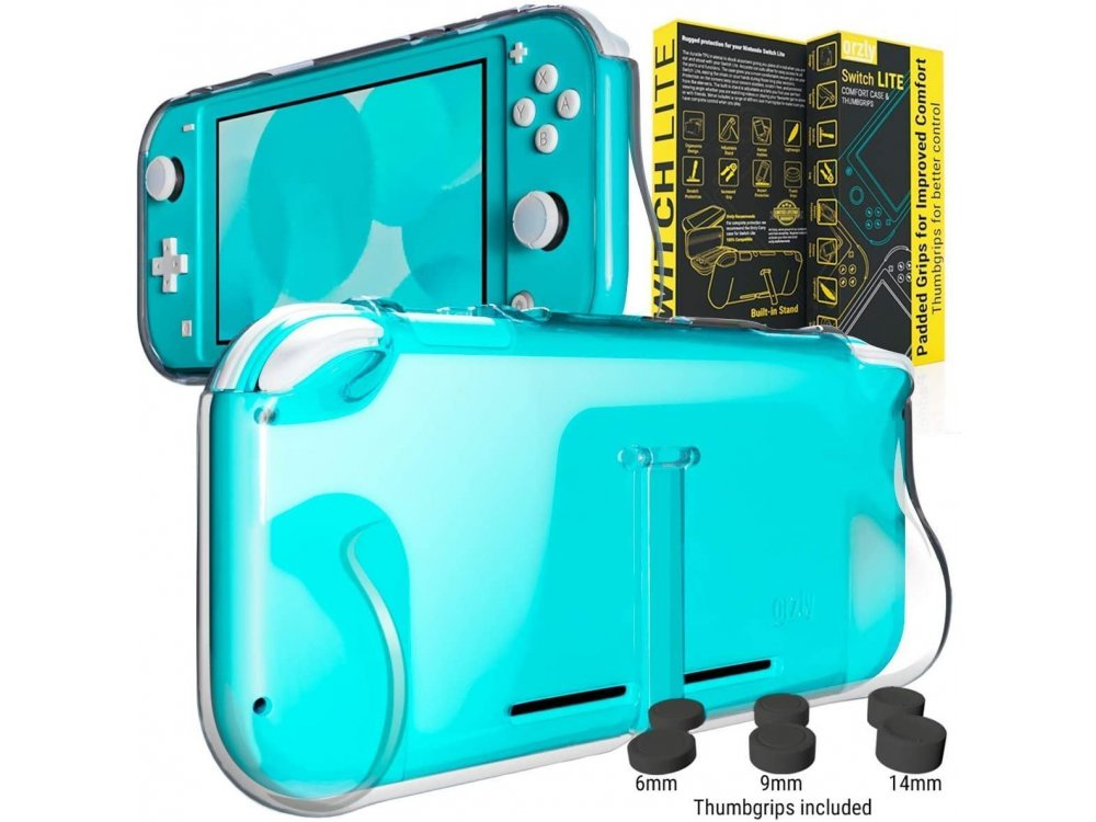Orzly Nintendo Switch Lite cover προστασίας Comfort Grip με Kickstand & Pack of 6 Thumb Grips - Clear