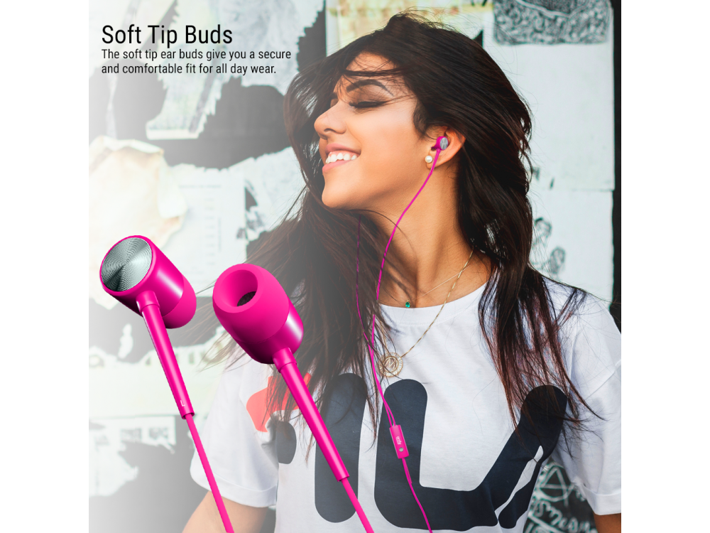 Orzly Stereo Earbuds with in-line Microphone, in-ear Headphones (Nintendo Switch / 2DS XL / Mac / iOS / PC), Pink