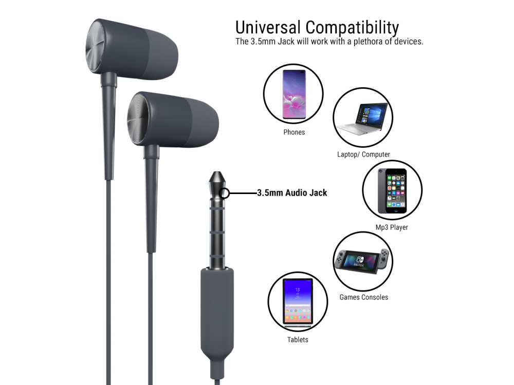 Orzly Stereo Earbuds with in-line Microphone, in-ear Ακουστικά (Nintendo Switch / 2DS XL / Mac / iOS / PC), Grey