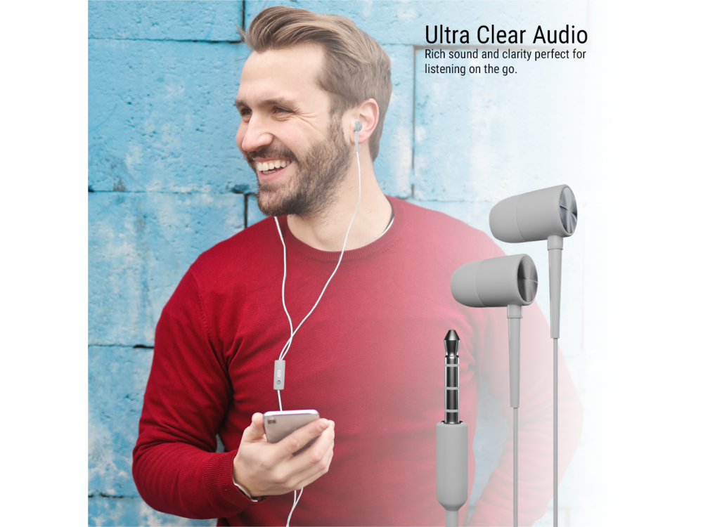 Orzly Stereo Earbuds with in-line Microphone, in-ear Headphones (Nintendo Switch / 2DS XL / Mac / iOS / PC), Z & Z Edition Grey