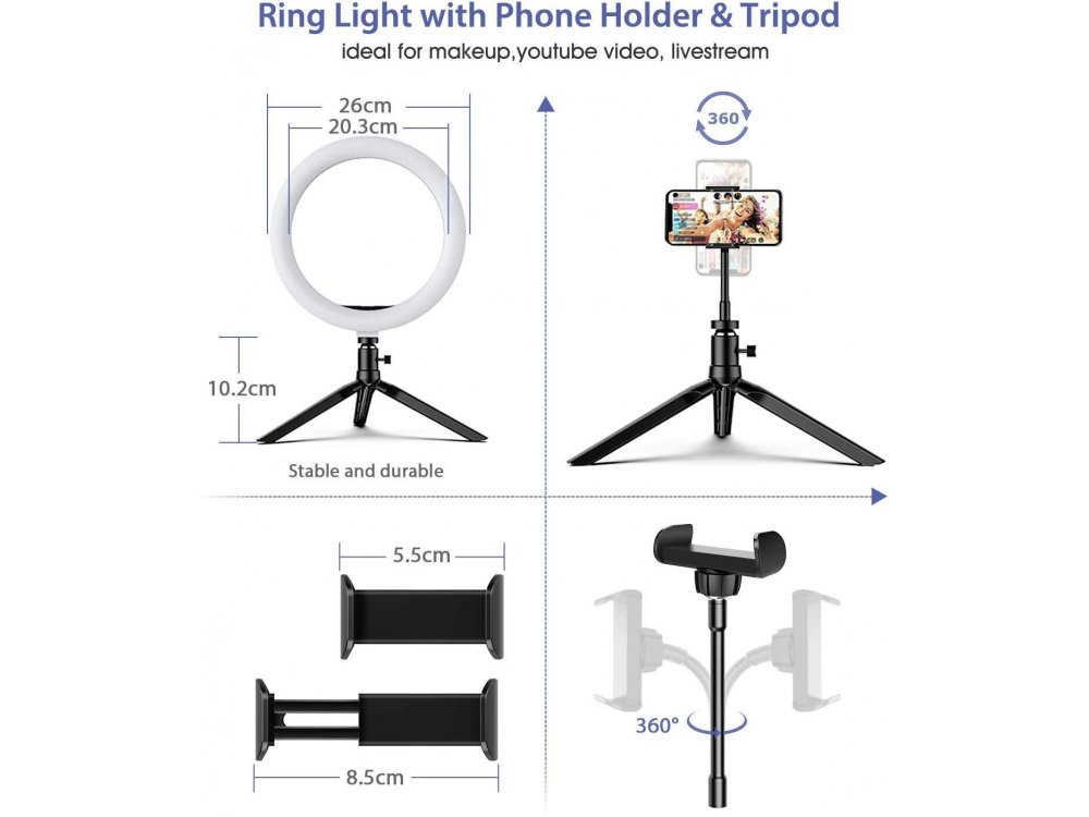 """BlitzWolf BW-SL3 LED Ring Light 10.2"""" Dimmable Temperature 3200K-5600K & Adjustable 3 Color + Τρίποδο + Bluetooth Remote"""