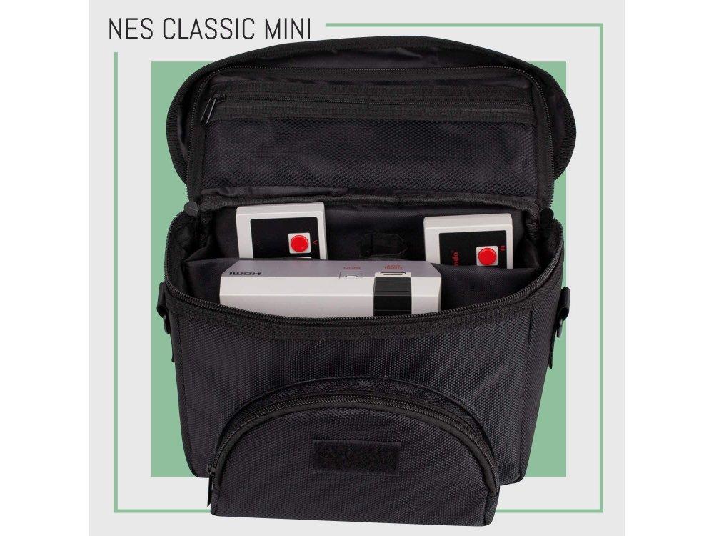 Orzly Carry Case for Sega Genesis Mini, Sony PlayStation Mini, Nintendo Nes Mini & SNES Mini Carrying Bag, Black