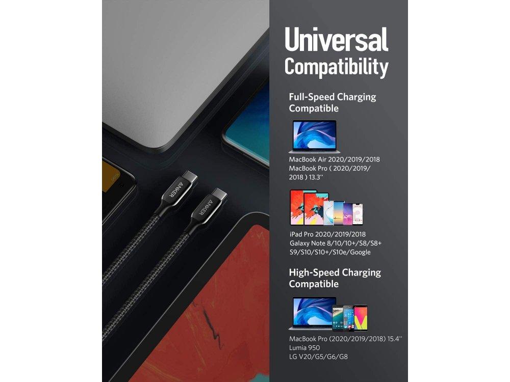 Anker PowerLine+ III Καλώδιο USB-C σε USB-C 1.8μ. - A8863011, Μαύρο