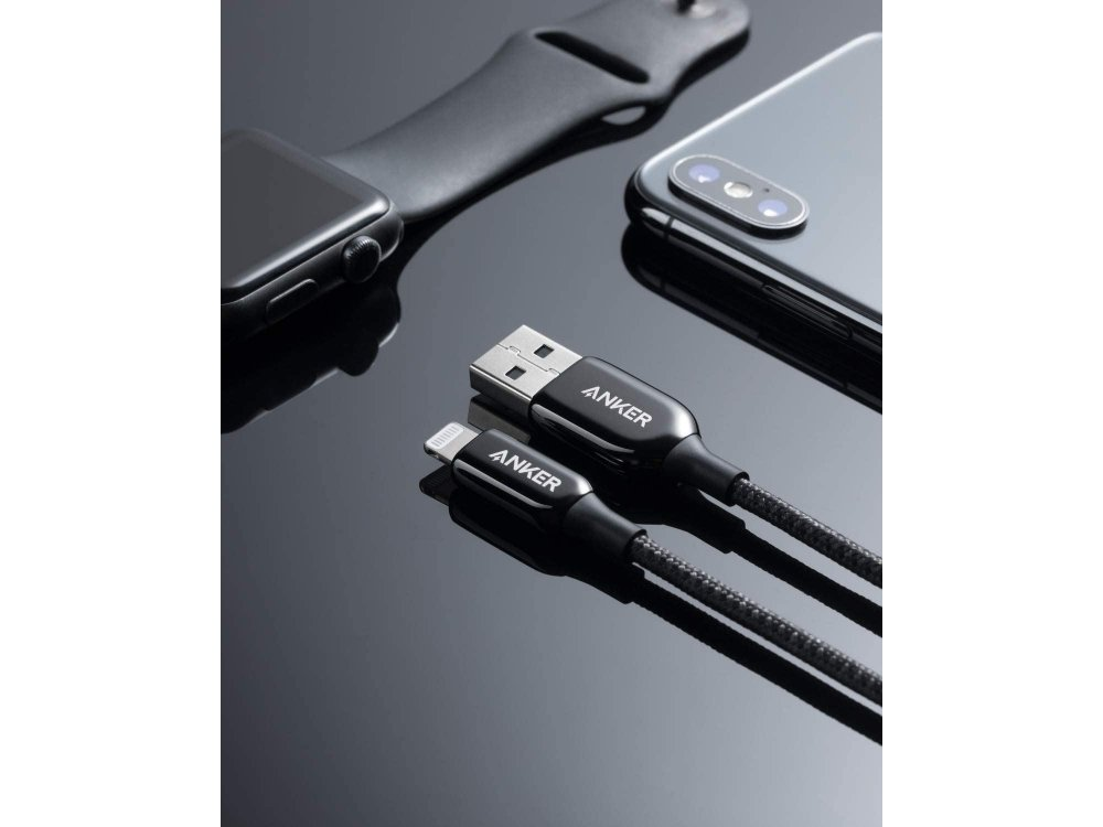 Anker PowerLine+ ΙIΙ καλώδιο Lightning για Apple iPhone / iPad / iPod MFi, 1.8μ. Νάυλον ύφανση - A8823011, Μαύρο