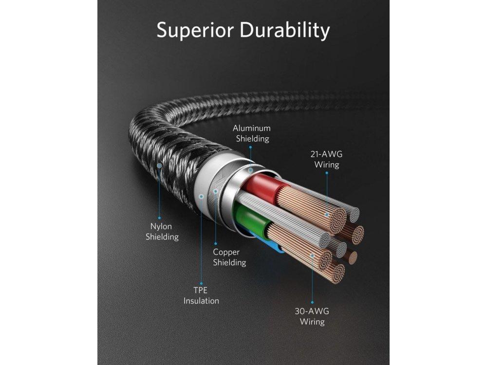 Anker PowerLine+ ΙΙ USB-C σε Lightning καλώδιο 1.8μ. για Apple iPhone / iPad / iPod MFi, με Νάυλον ύφανση - A8653H11, Μαύρο