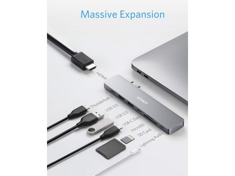 Anker PowerExpand 8-in-2 Type-C Hub για Macbook 100W 5K@60Hz HDMI + 2*USB3.0 + 1*Thunderbolt + 1*Micro SD/SD +1*AUX - A83810A1