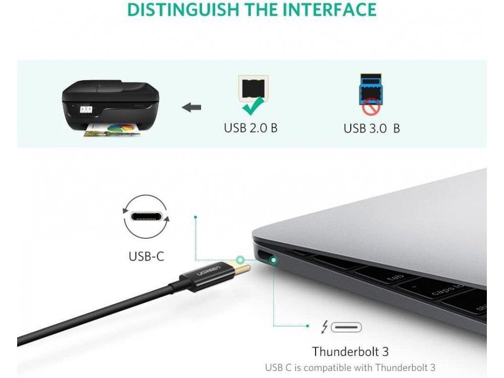 Ugreen USB-C to USB-B Printer / Scanner  Cable 2m - 50446, Black