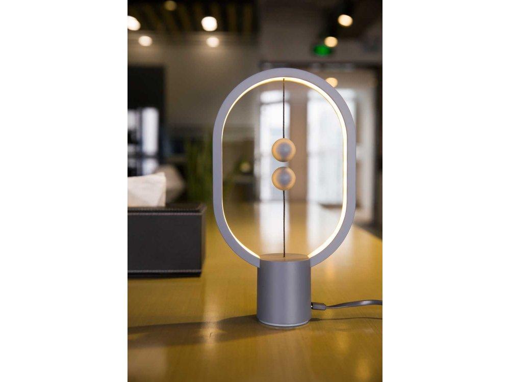 Allocacoc Heng Balance Plastic Lamp, Ellipse Mini, Φωτιστικό με Μαγνητικό Διακόπτη, Light Grey - DH0098LG/HBLEMN