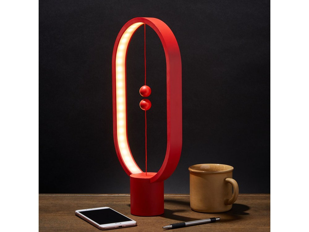 Allocacoc Heng Balance Plastic Lamp Ellipse, Magnetic Switch, Red - DH0040RD/HBLEUB