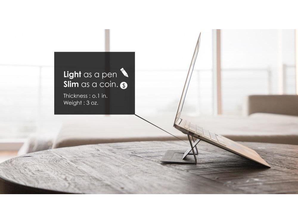 Allocacoc Moft Laptop Σταντ Αντιολισθητικό & Φορητό, Μαγνητικό Folding Slim Stand, Grey - DH0117GY/MOFTST