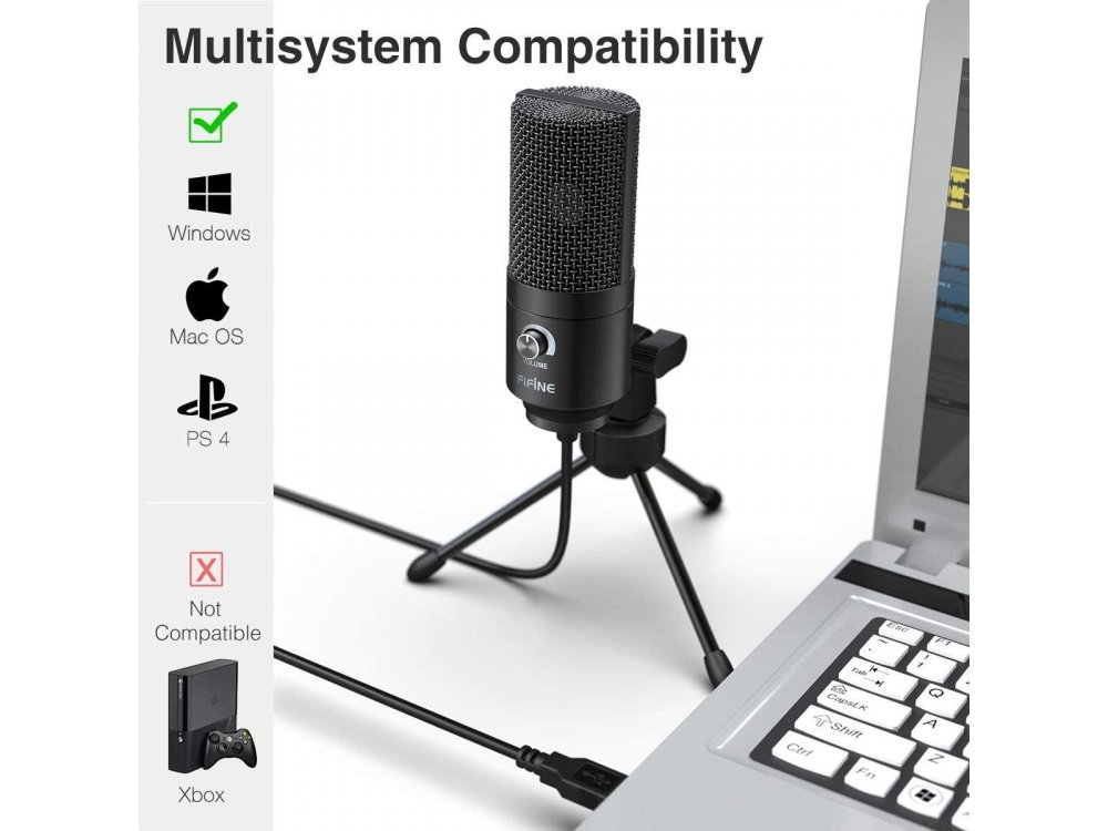 FIFINE K669B Condenser Microphone USB with Volume Dial for Vocal Recording, Sreaming, Podcast ect