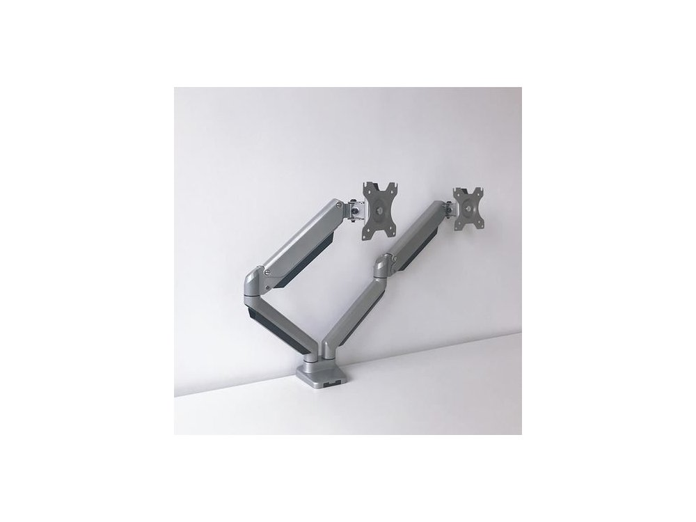 """Nordic Dual Arm Desk Mount with Clamp, Aluminum Stand, 2 Monitor 13""""-32"""", up to 13g, Silver - AG8-42"""