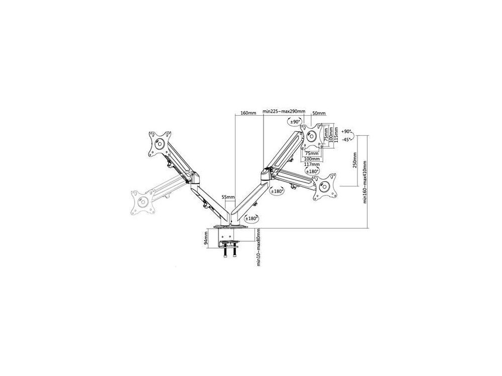 """Nordic Dual Arm Desk Mount with Clamp, Βάση για 2 Οθόνες 17""""-27"""", έως 10kg - AG6-42"""