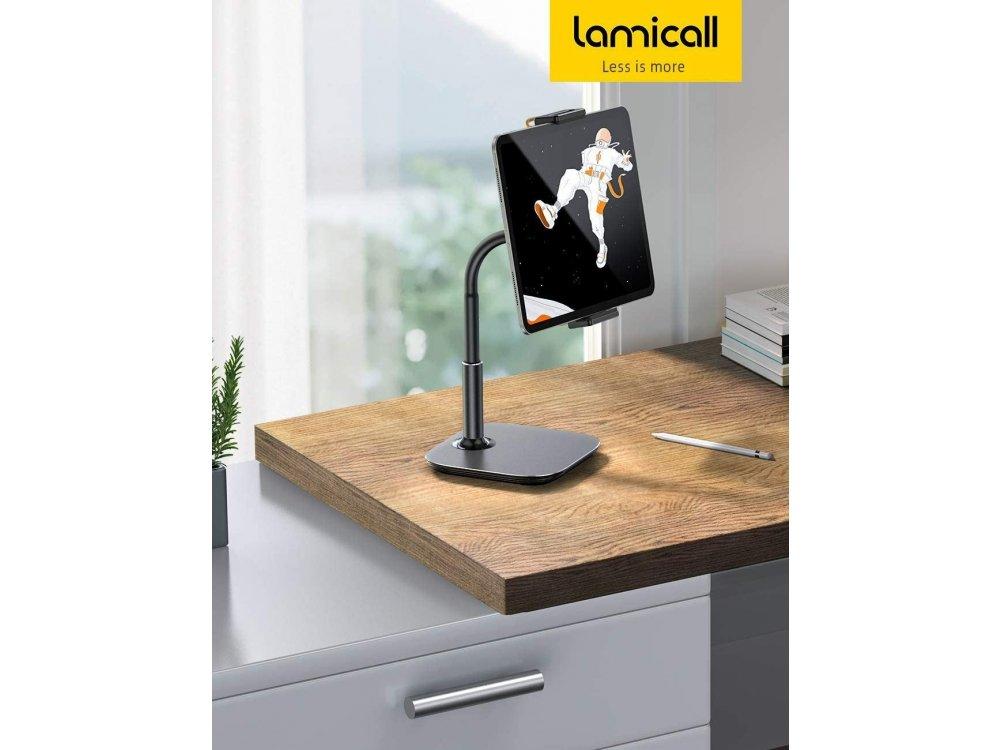 """Lamicall DT01 Desktop Bracket Holder, Βάση / Stand τοποθέτησης Κινητού/Tablet 4.7""""-13"""", Μαύρο"""