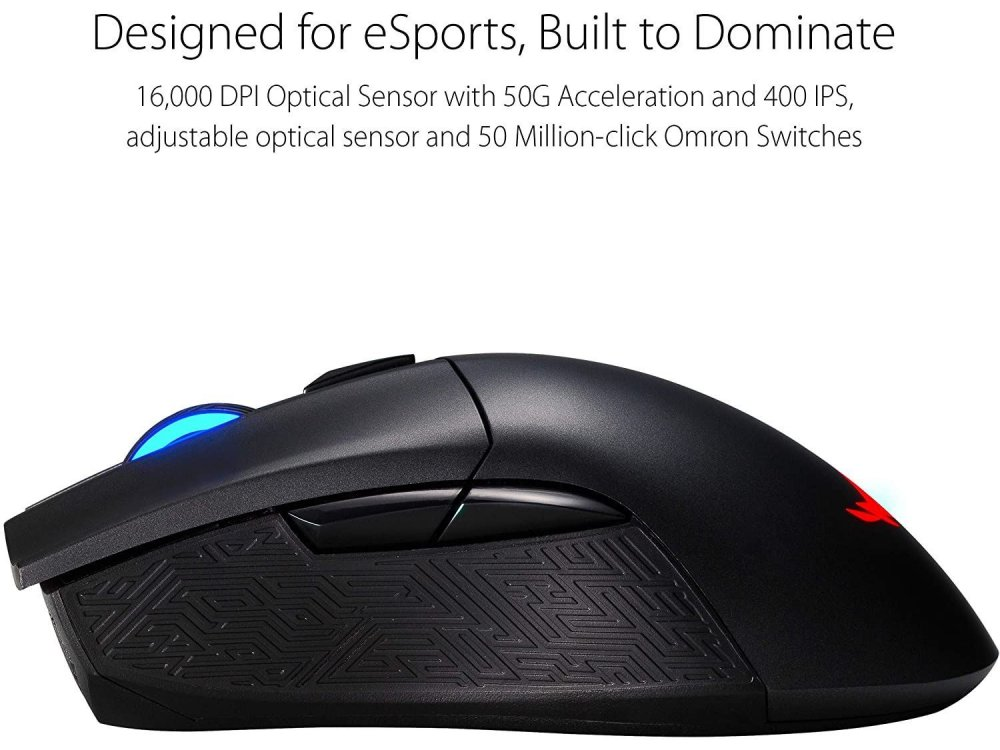 Asus ROG Gladius II Ασύρματο Ποντίκι Gaming, Aura Sync RGB Lighting, 12000 DPI