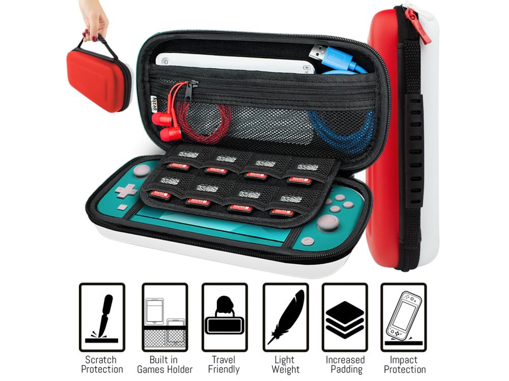 Orzly Nintendo Switch Lite Accessories Bundle - 2x Glass Screen Protector, καλώδιο USB, θήκη μεταφοράς,Cards κ.α. Pokemon