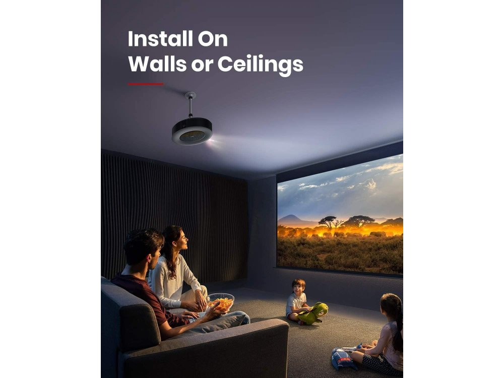 Anker Nebula Ceiling & Wall Mount, for Projectors up to 5kg, Universal, Adjustable 26-40cm, Silver- D0724111