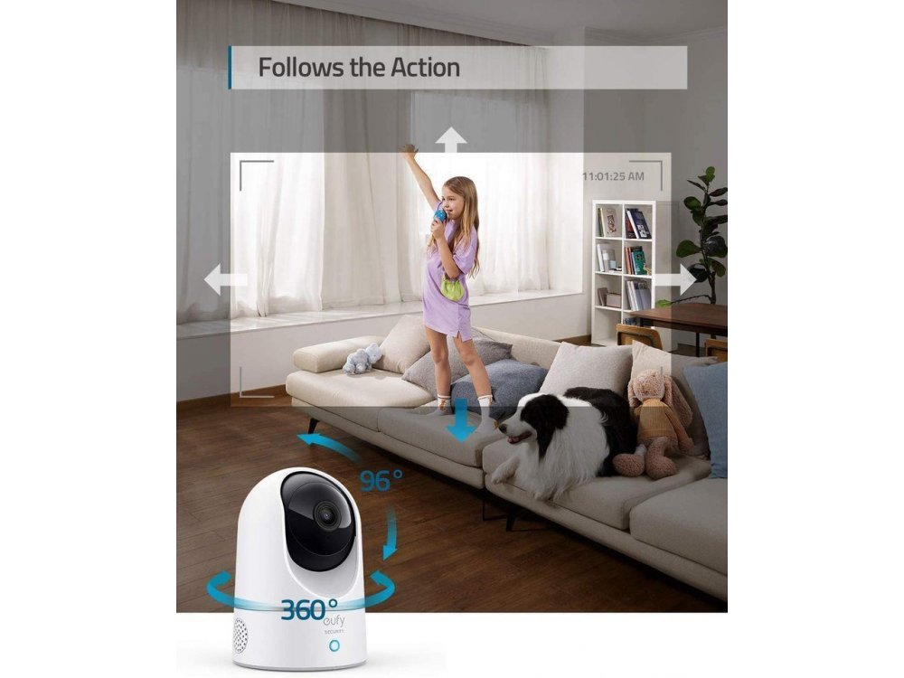 Anker eufyCam IP Camera 2K, Pan & Tilt, Night Vision, 2-Way Audio, WiFi and Motion Detection with Human & Pet AI - T8410322