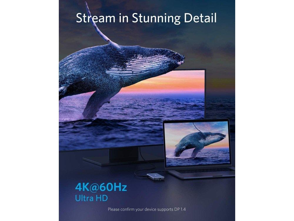 Anker PowerExpand 8-in-1 USB-C Data Hub HDMI/4K@60Hz + LAN + USB3.1*2 + SD/Micro SD Card reader + 100W PD Charging - A83830A1
