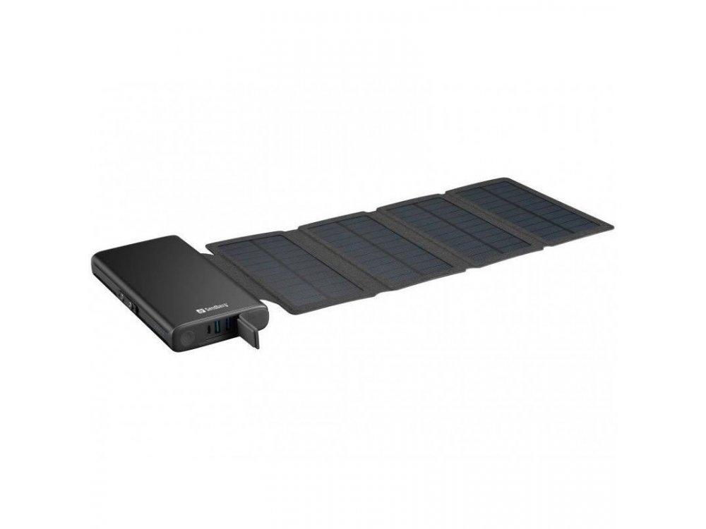 Sandberg Solar 4-Panel 25000 Power Bank 25.000mAh - 420-56, Μαύρο