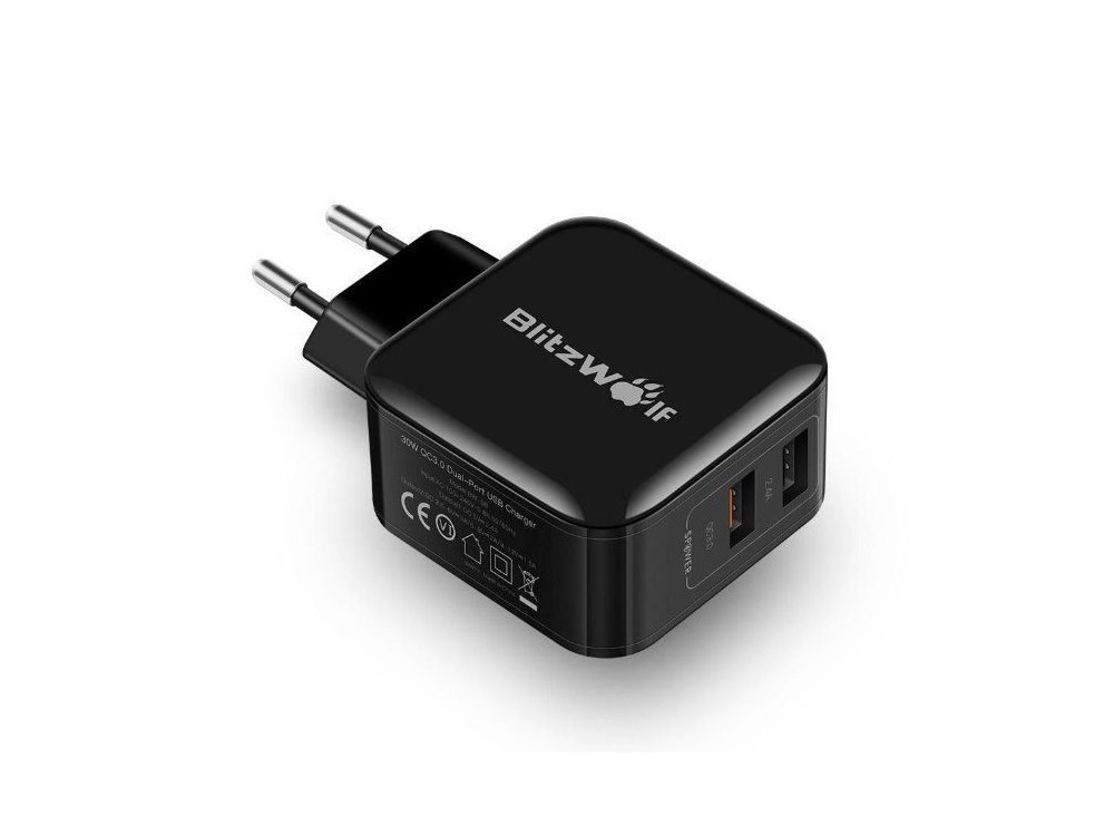 Wall Charger 30W 2-Port QC3.0 - BW-S6, Black