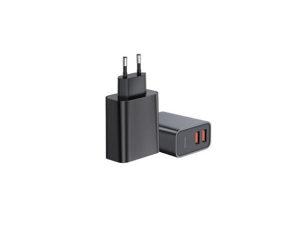 Baseus Φορτιστής Πρίζας 30W 2-θυρών QC3.0 - CCFS-E01, Μαύρος