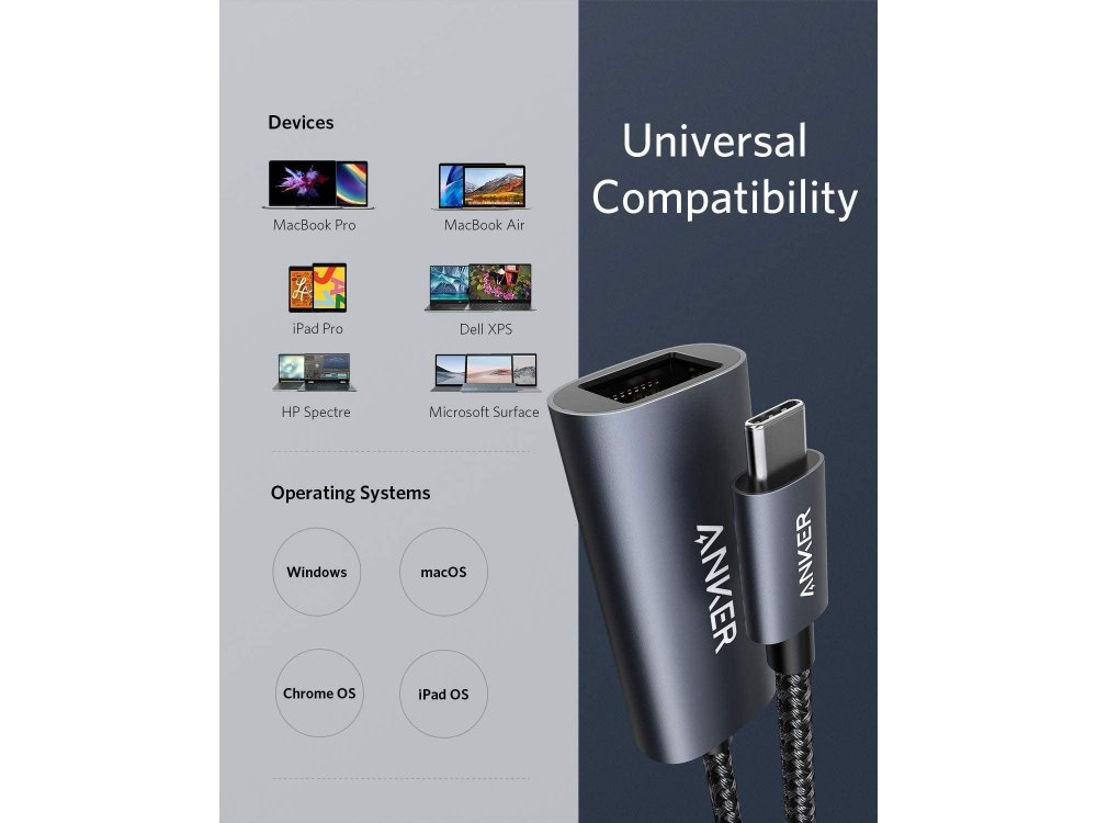 Anker PowerExpand USB-C to Gigabit Ethernet Adapter / Hub, Space Grey - A83130A1