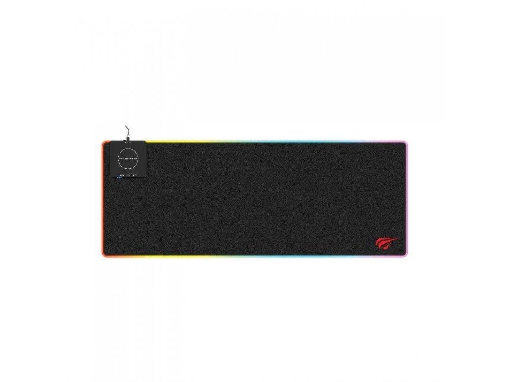 Havit MP902 XXL Gaming Mouse Pad Qi (80x30cm) με RGB LED & Ασύρματη Φόρτιση 10W, Μαύρο