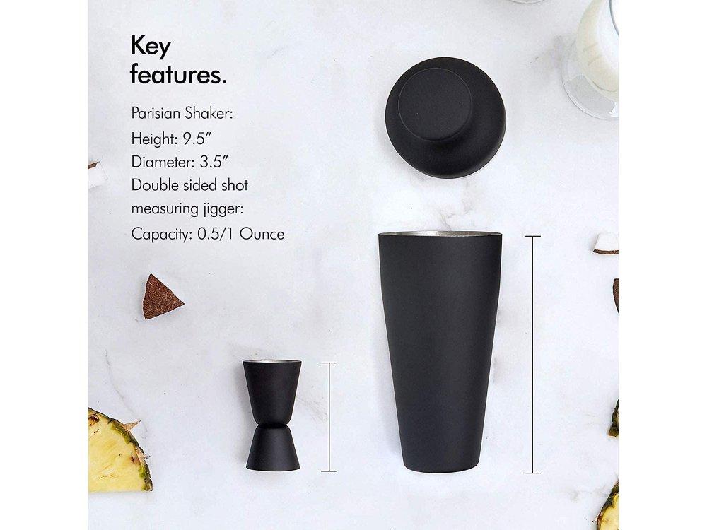 VonShef Cocktail Set 9pcs., Cocktail Set, Stainless Steel, Parisian Matte Black - 1000147