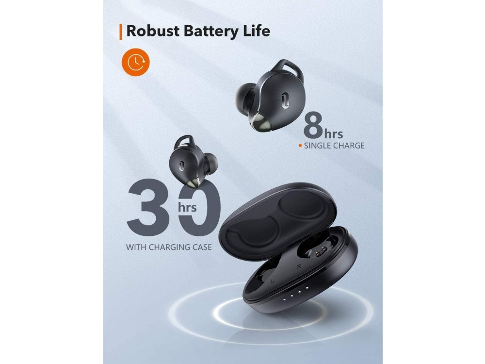 TaoTronics SoundLiberty 79 Bluetooth Headphones with AI Auto Noise-cancelling Microphone, IPX8, 30H Battery, Black - TT-BH079