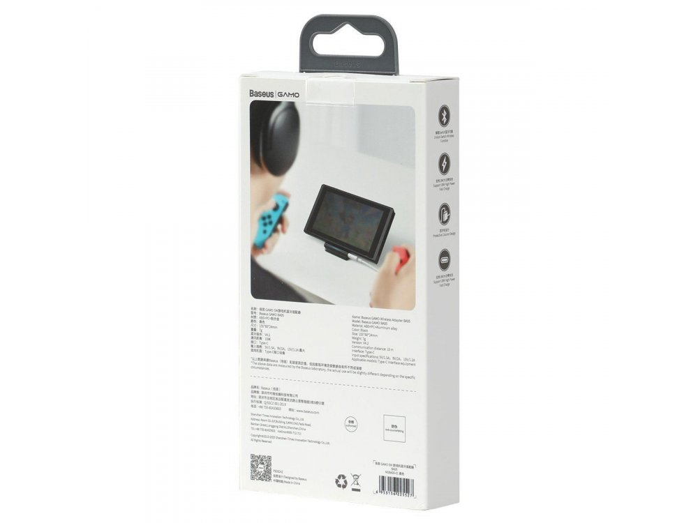 Baseus Gamo BA05 USB-C Wireless Adapter for Nintendo Switch, Bluetooth, Audio & Fast Charging 18W - NGBA05-01