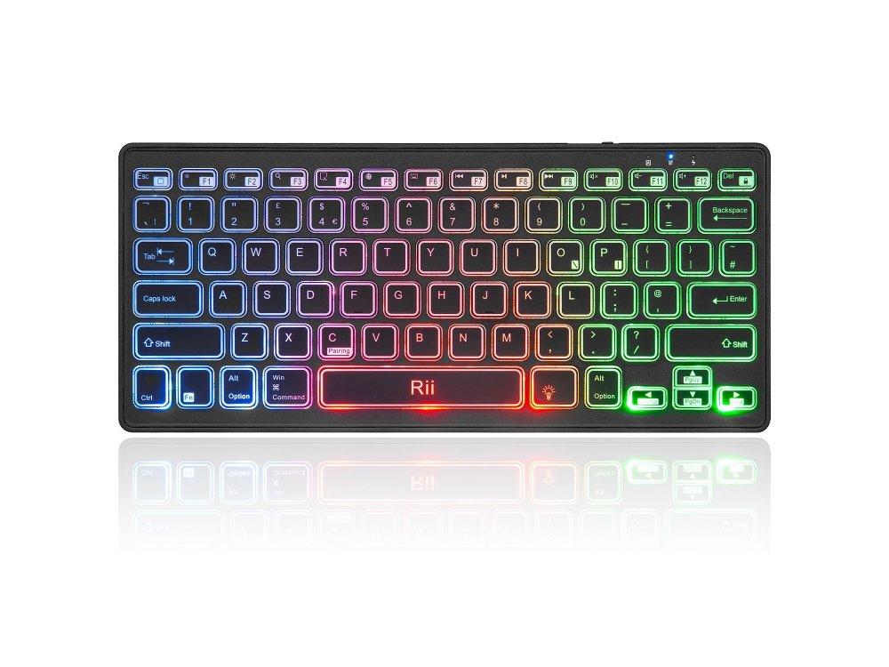Rii K09BT Mini Slim Profile RGB Bluetooth Keyboard, Black