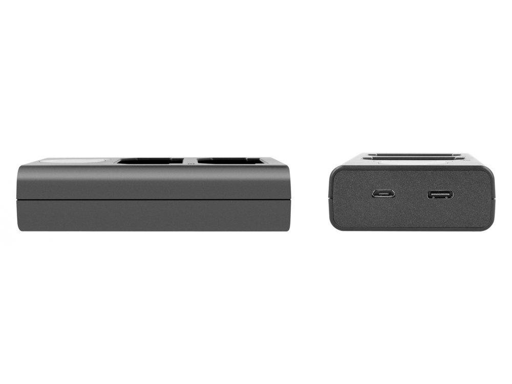 Newell Φορτιστής μπαταριών Canon LP-E8 Διπλός Με ένδειξη φόρτισης και εισόδους Type-C & Micro USB - NL1963