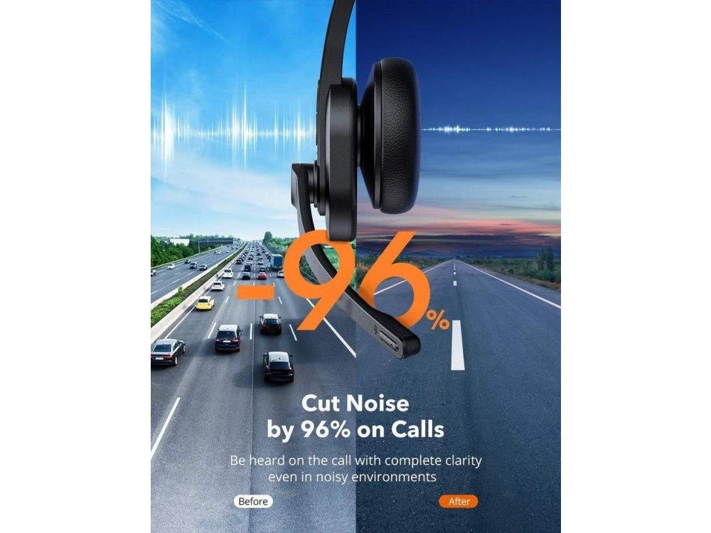 TaoTronics Trucker Bluetooth Headset 41 με AI Auto Noise-cancelling Microphone, Μαύρο - TT-BH041