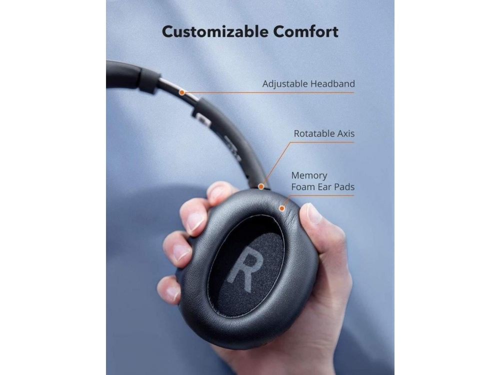 TaoTronics SoundSurge 55 Bluetooth ακουστικά με Active Noise Cancelling, aptX, CVC8.0, 30H Μπαταρία, Μαύρα - TT-BH055