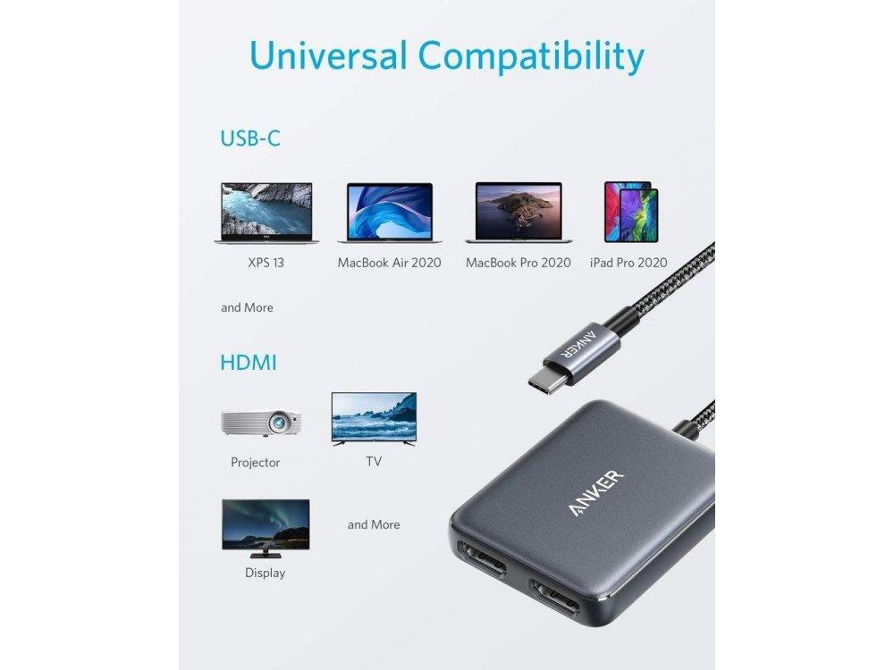 Anker USB-C to Dual HDMI 4K@60Hz Adapter (4K@30Hz σε Dual Mode), με Νάυλον Ύφανση, Space Gray - A83240A1