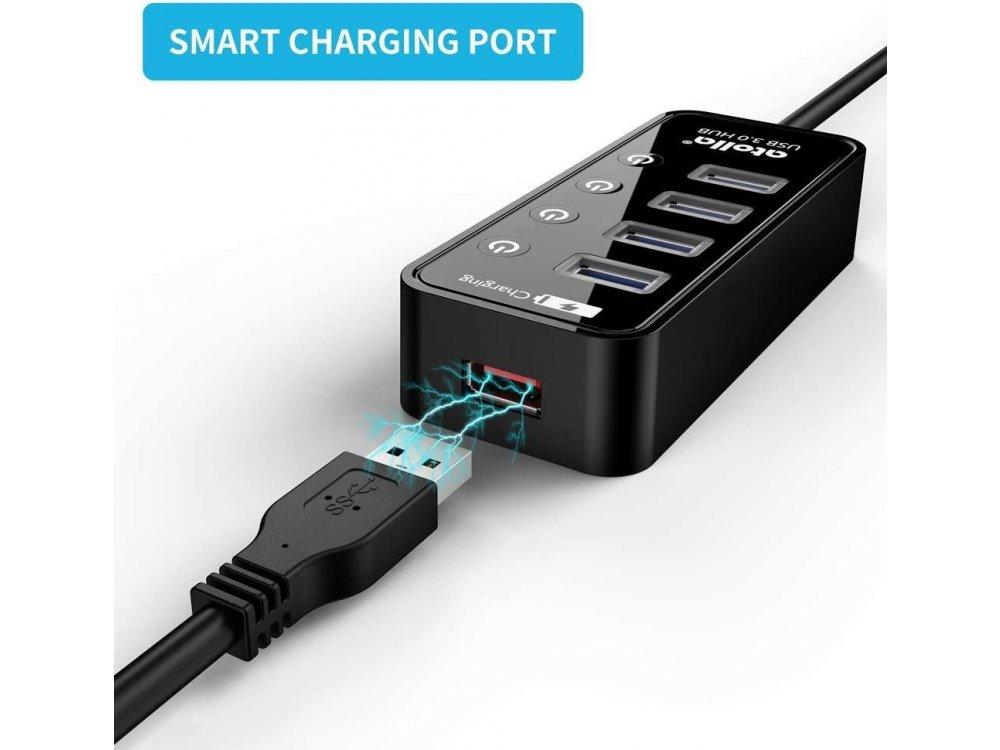 Atolla 5-Port (USB3.0 Data *4 + Smart Charging *1) Data Hub με Individual Switch και φορτιστή USB - CH-204-WX