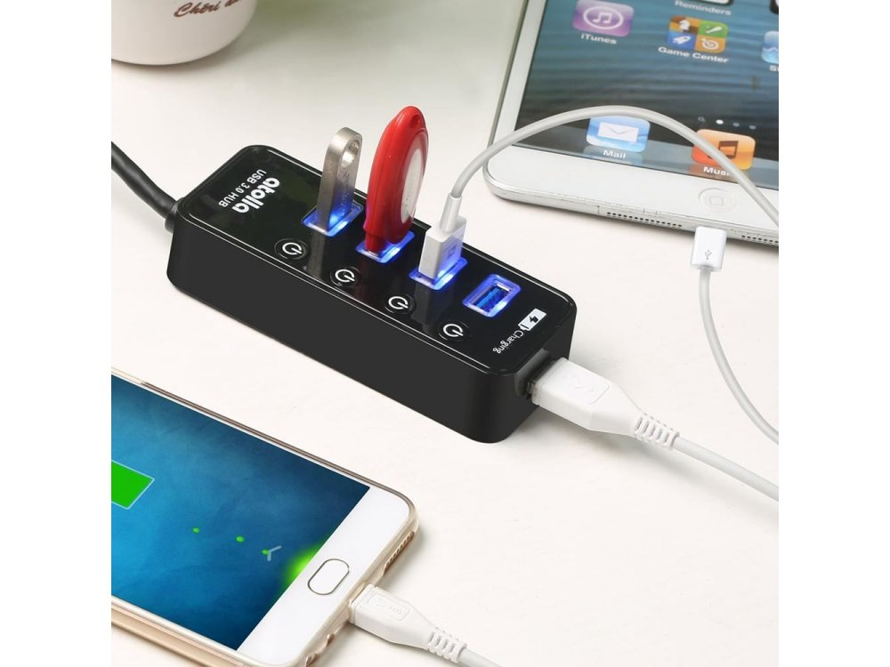 Atolla 5-Port (USB3.0 Data *4 + Smart Charging *1) Data Hub with Individual Switch - CH-204U3
