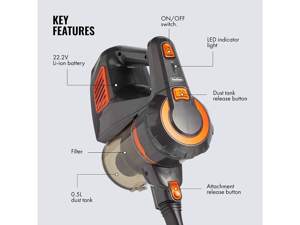 VonHaus Wireless Electric Vacuum Cleaner / Stick 2-in-1, 120W, 9000Pa, Rechargable Battery, Li-ion 22.2V - 3000098