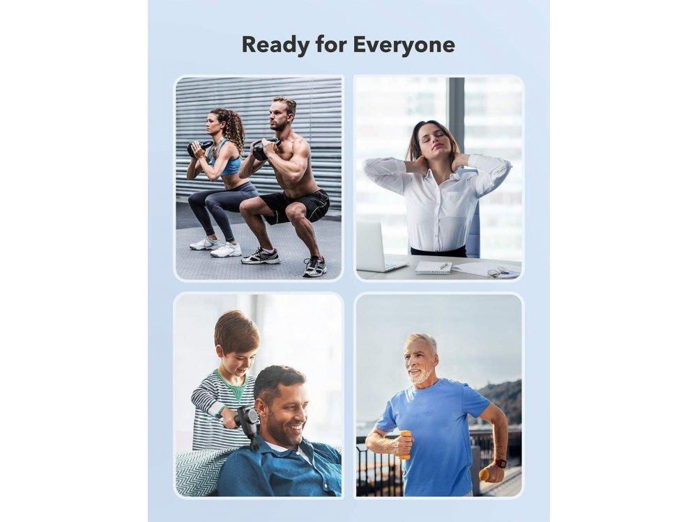 TaoTronics Massage Gun, Συσκευή Μασάζ και ανάκαμψης Μυών, Ασύρματη με Επίπεδα Ταχύτητας και 6 Κεφαλές Μασάζ - TT-PCA003
