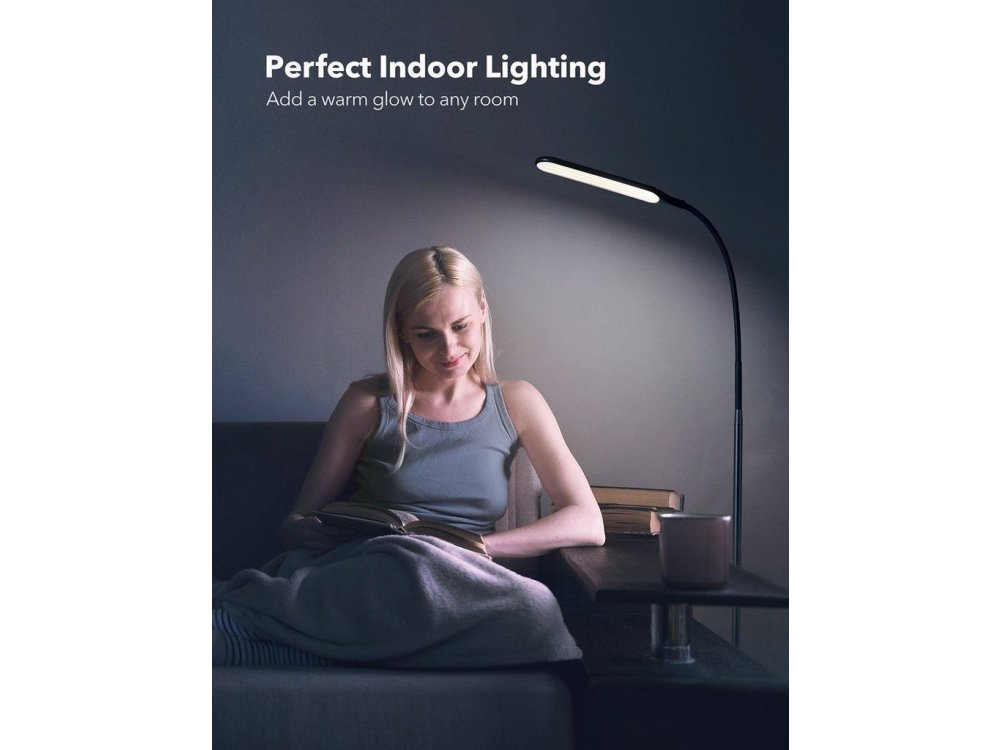 TaoTronics TT-DL046 LED Floor Lamp with Touch Control, 4 Color Modes, 4 Brightness Levels, Gooseneck, Black