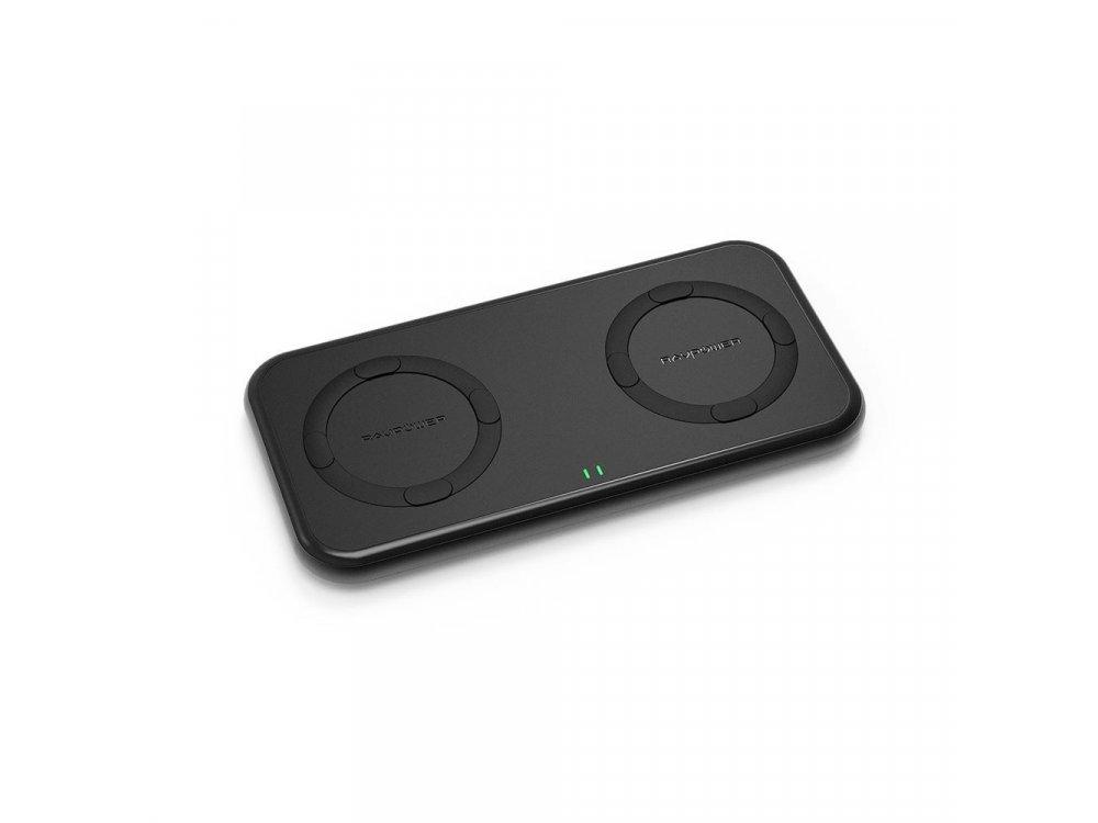 RAVPower 20W Qi Dual Pad Διπλός Ασύρματος φορτιστής 7.5W10W Σετ με Φορτιστή Πρίζας, Μαύρος - RP-PC065